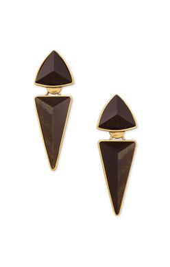 Kendra Scott Vivian Statement Earring Vintage Gold Golden Obsidian