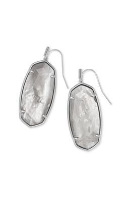 Kendra Scott Faceted Elle Drop Earring Rhodium Gray Illusion