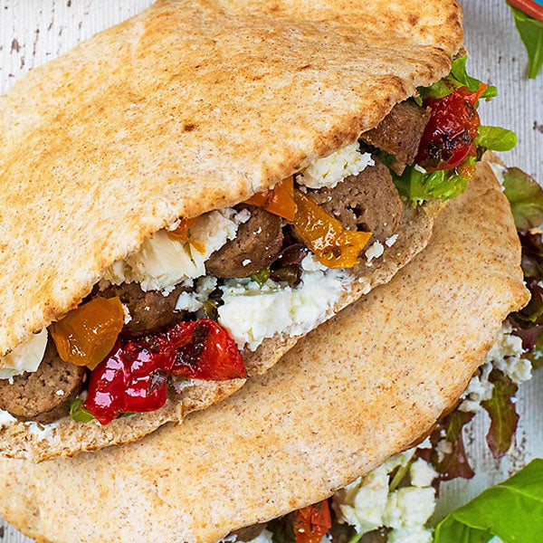 Harissa Spiced Roast Lamb in Pitta with Tzatziki and Salad