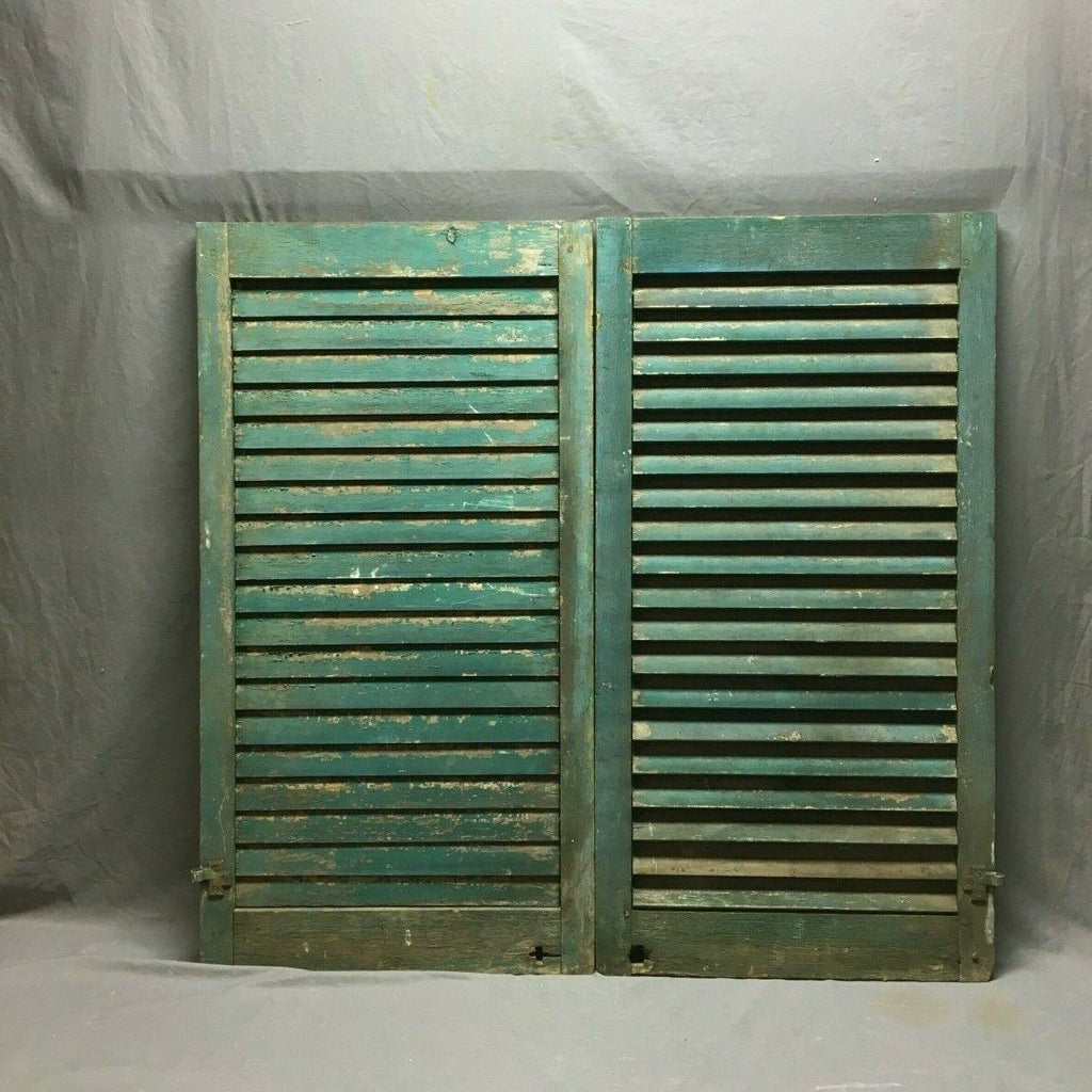 Pair Wide 22x42 Antique Wood Louvered Shutter Shabby Chic Vtg 157-19B
