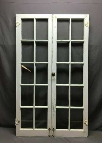 Pair Antique 10 Lite Casement Windows Vintage 17x58 499-20