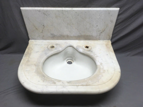 "30"" Antique Half Round Marble Bath Sink Oval Vitreous China Basin Vtg 345-20E"