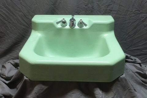 Vtg Mid Century Jadeite Green Porcelain Cast Iron Shelf Back Sink Bath 353-20E