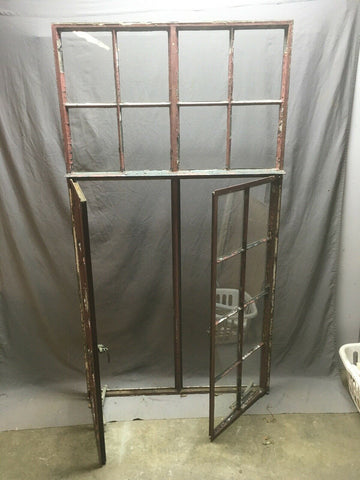 Antique Double 8 Lite Casement Steel Industrial Window 39x72 Vtg Tudor 350-20E