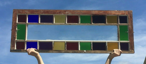Antique 21 Lite 19x52 Stained Glass Transom Window Sash Old Vtg 528-20E
