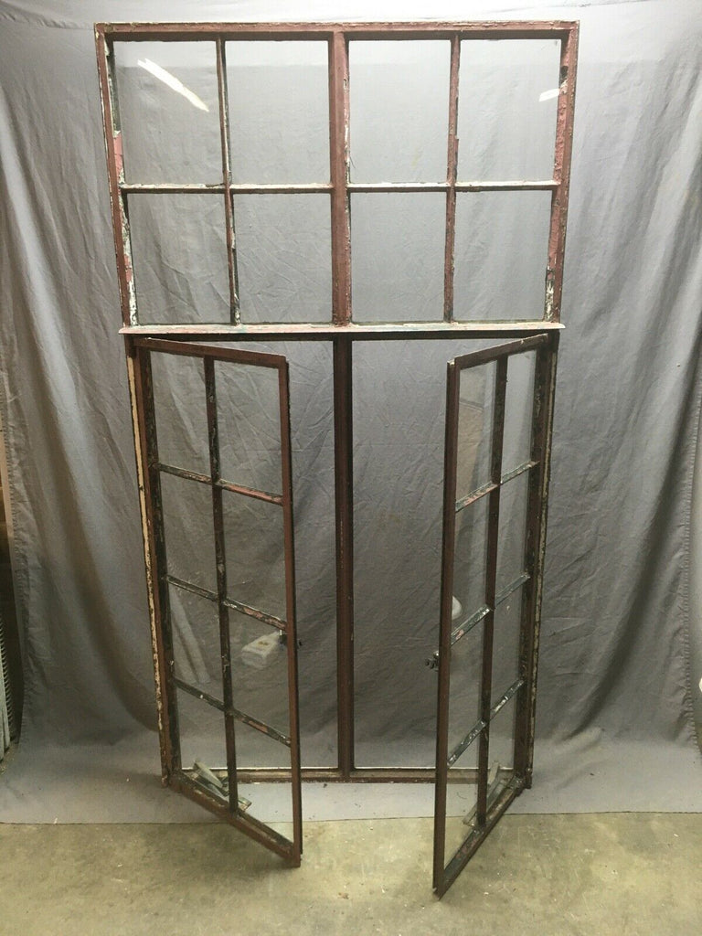 Antique Double 8 Lite Casement Steel Industrial Window 39x72 Vtg Tudor 357-20E