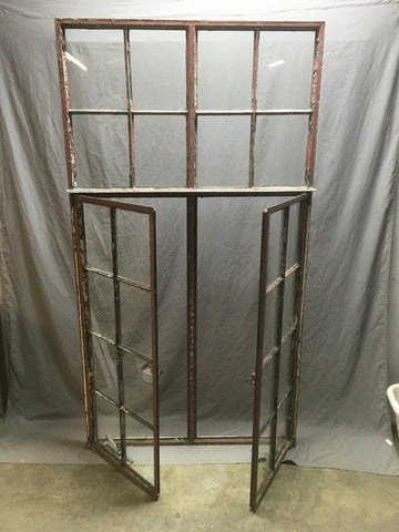Antique Double 8 Lite Casement Steel Industrial Window 39x72 Vtg Tudor 355-20E