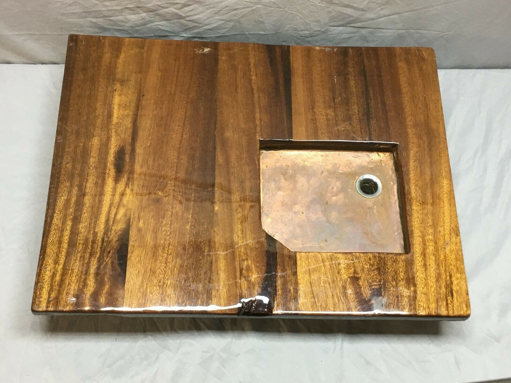 Vintage Handmade Copper Basin Old Boat Sink Mahogany Top 258-19E