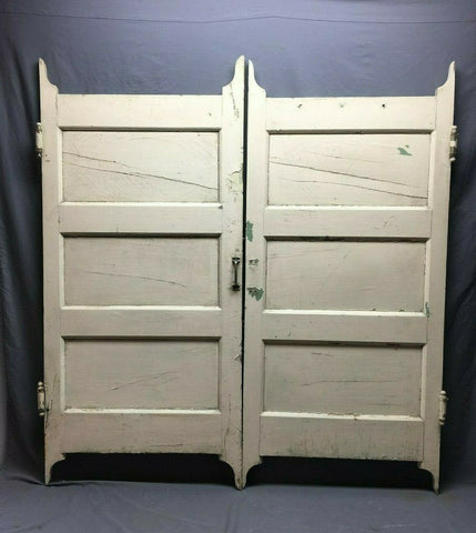 Pair Antique White 3 Panel Saloon Wood Swing Door VTG 54x59 Bathroom 493-20B