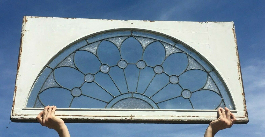 Antique 24x48 Arched Leaded Glass Transom Window Sash Old Vintage 531-20E
