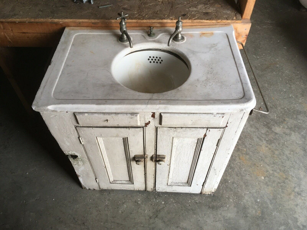 Early Antique Left Corner 20x30 Marble Bathroom Sink Old Vtg Cabinet 137-20E