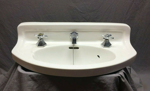Antique PARTS Ceramic White Porcelain Half Round Sink Standard FAUCETS 430-19J