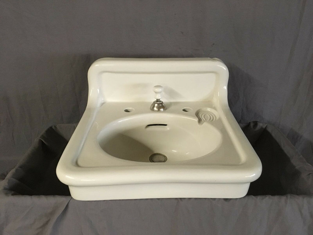Antique Ceramic White Porcelain Bath Wall Sink Old Crane Vtg Trenton 562-18E