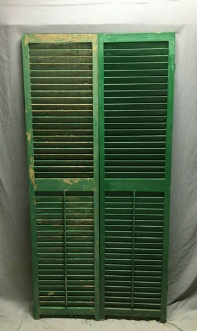 Pair Vtg House Wood Louvered Shutters 17X70 Shabby Old Chic Green 491-20B