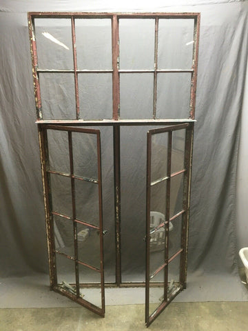 Antique Double 8 Lite Casement Steel Industrial Window 39x72 Vtg Tudor 358-20E