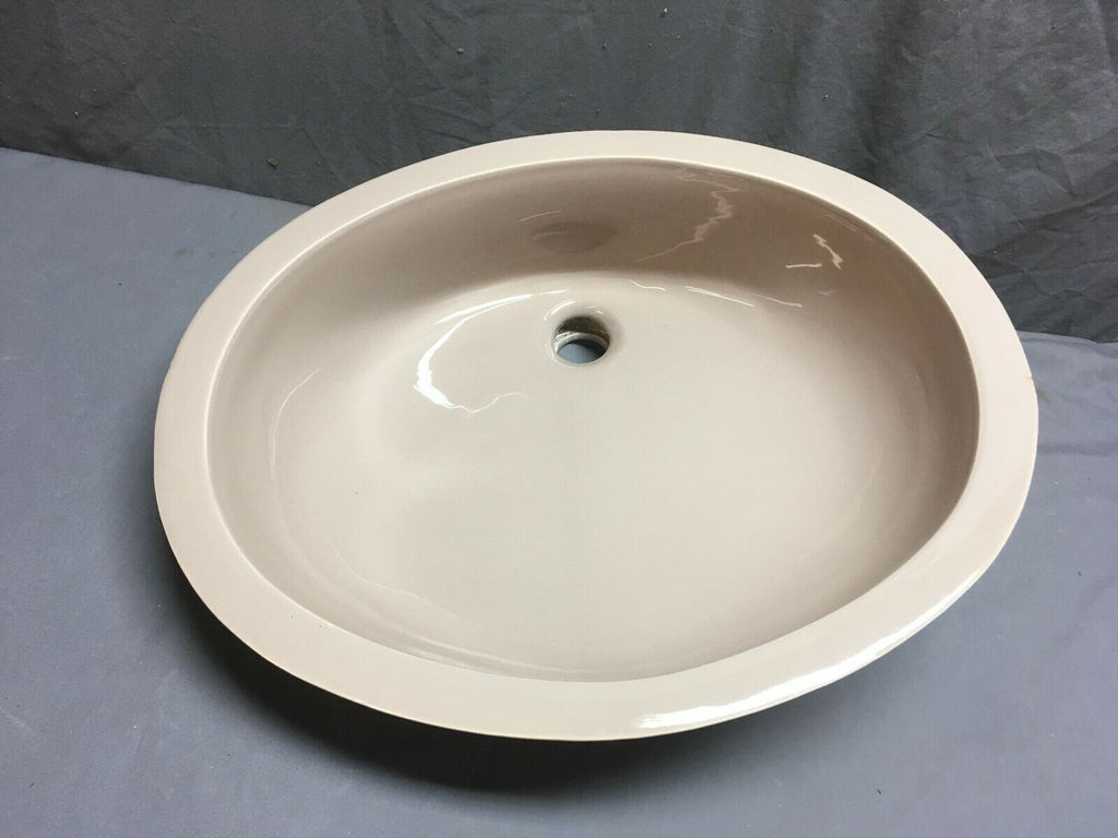 Vtg NOS Ceramic Chocolate Porcelain Under Mount Bath Sink Retro Standard 340-19E