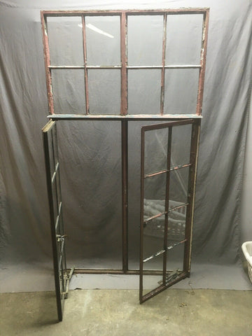 Antique Double 8 Lite Casement Steel Industrial Window 39x72 Vtg Tudor 349-20E