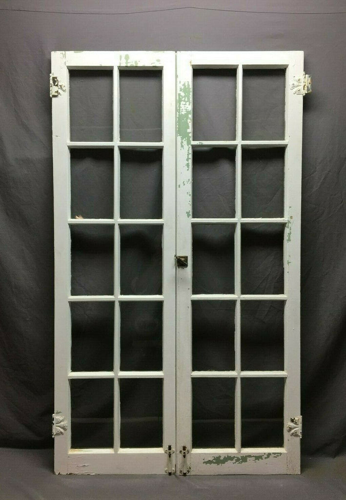 Pair Antique 10 Lite Casement Windows Vintage 17x58 498-20