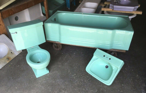Vtg Mid Century Deco Ming Jadeite Green Bathroom Set Old Tub Sink Toilet 410-20E