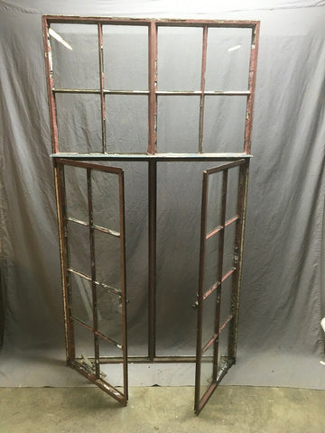 Antique Double 8 Lite Casement Steel Industrial Window 39x72 Vtg Tudor 356-20E