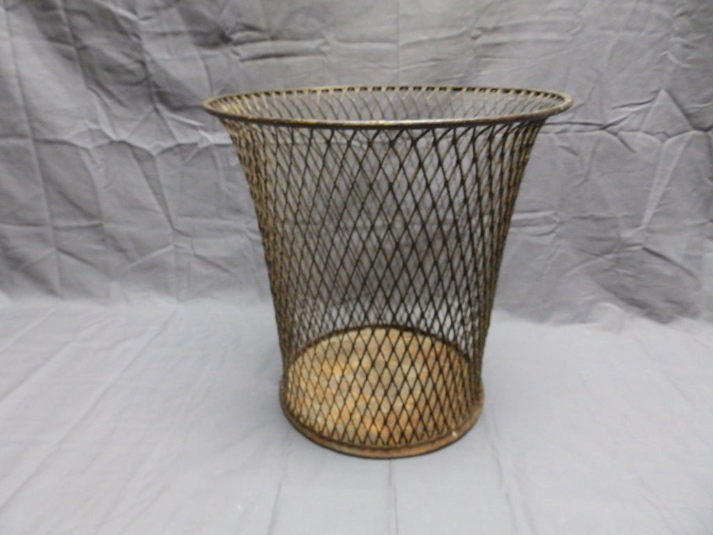 Vintage Industrial Waste Paper Basket Trash Can Receptacle Steampunk Old 509-18P