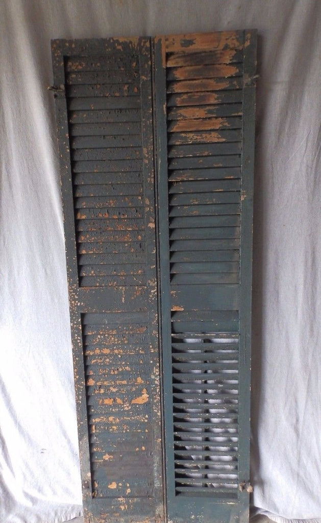 Pair Antique Window Wood Louvered Shutter Shabby Old Chic Vintage 70X12 58-17P