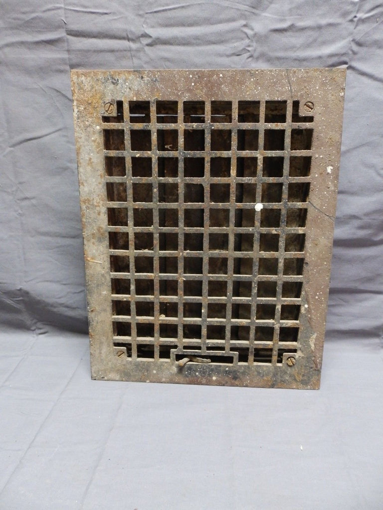Antique Cast Iron Floor Heat Grate Register 14x11 Arts Crafts Vent Vtg 335-18P