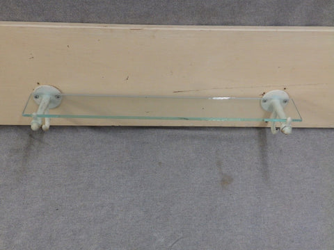 "Antique 18"" Glass Shelf Ledge Cast Iron White Porcelain Brackets Hooks 28-17E"