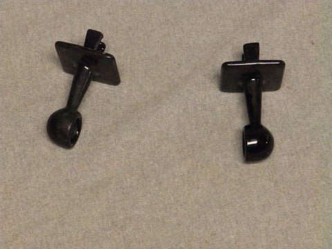 Antique Tile In Cast Iron Black Porcelain Towel Bar Brackets Vtg Hardware 881-16