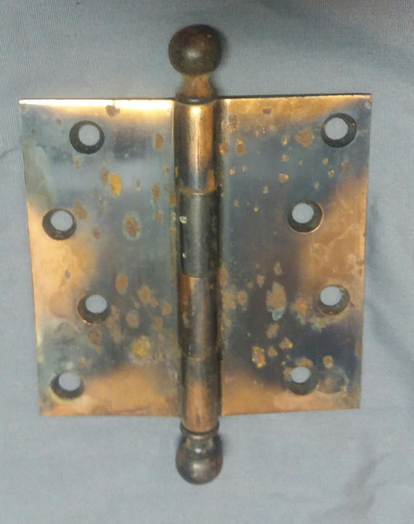 "Vintage Jappaned Door Hinge 4"" x 4""  copper flash ball finials vtg 14-18F"