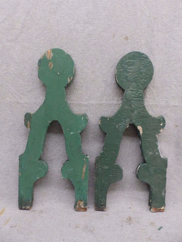 Pair Antique Architectural Gingerbread Flat Balusters Vintage Old 332-17R