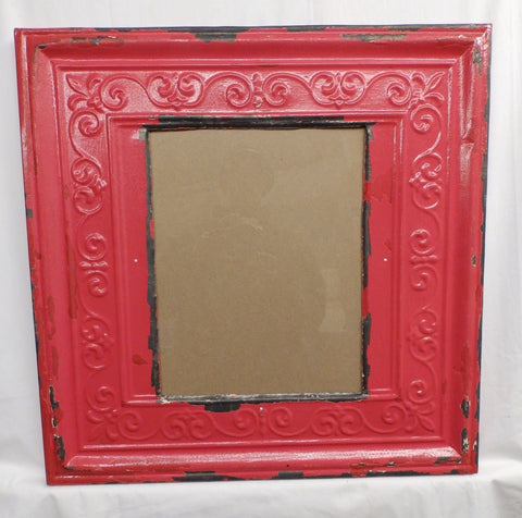Antique Repurposed TIN CEILING Metal 11x14 Red Picture Frame Recycled 4129-15