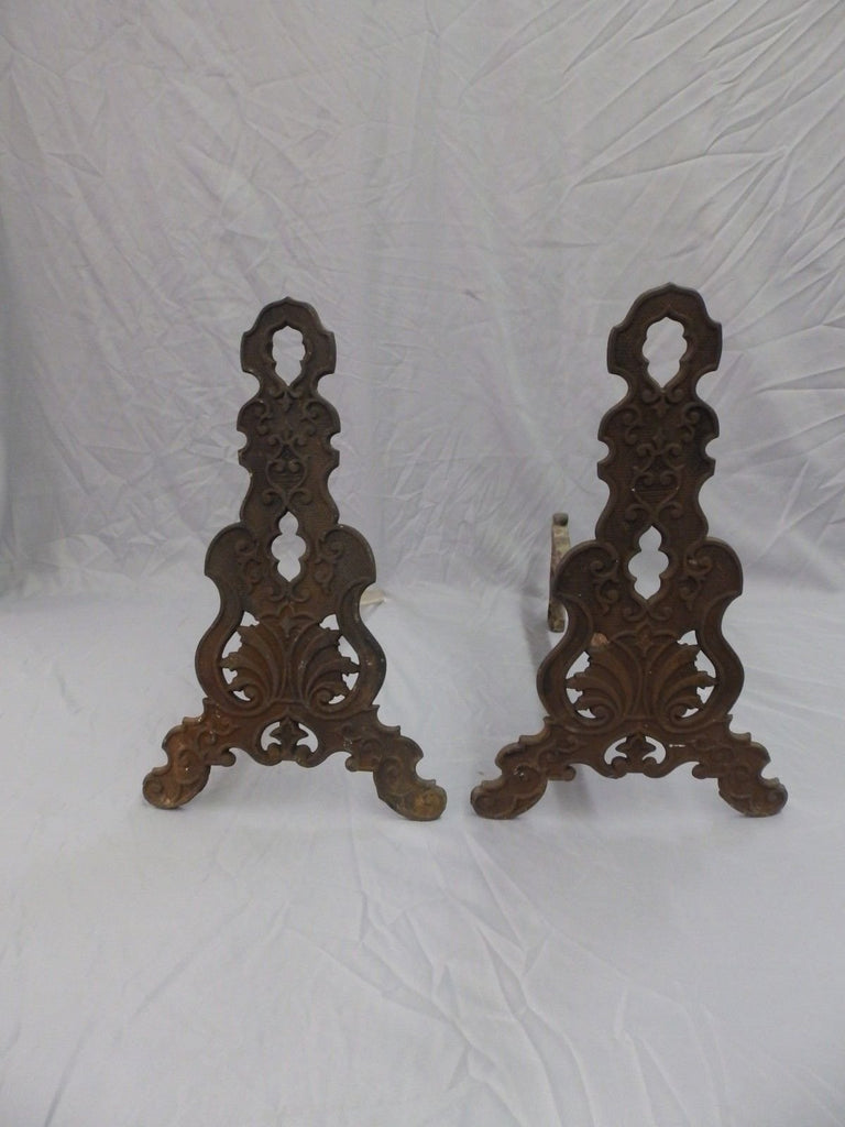 Decorative Antique Victorian Fireplace Andirons Vintage Cast Iron Garden 223-18P