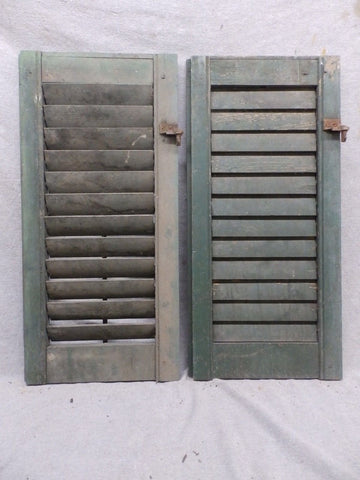 Two Antique Window Wood Louvered Shutter Shabby Old Chic Vtg 26x12 110-17R