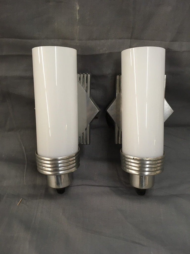 Vtg Aluminum Chrome Sconce Pair Cylinder Milk Glass Shades Old Art Deco 523-17E