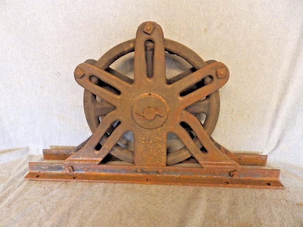 Large Antique Industrial Theater Stage Curtain Iron Pulley Steampunk Vtg 429-17P