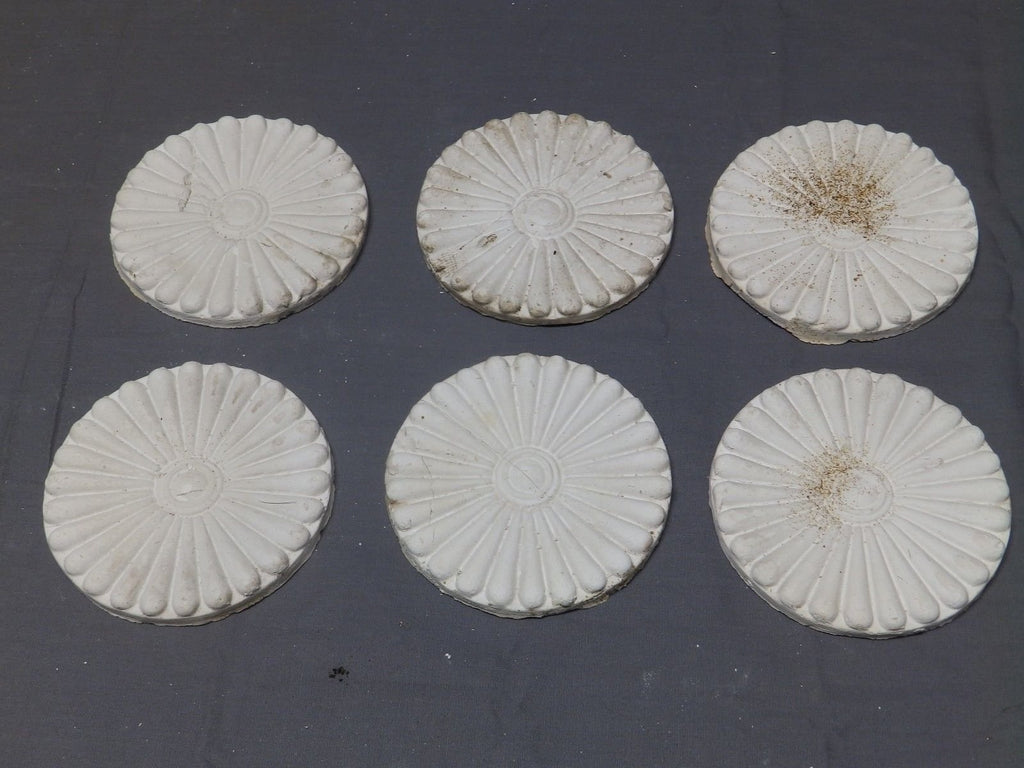 Set of 6 Decorative Plaster Medallions Shabby Flower Chic Arts Crafts 406-18P