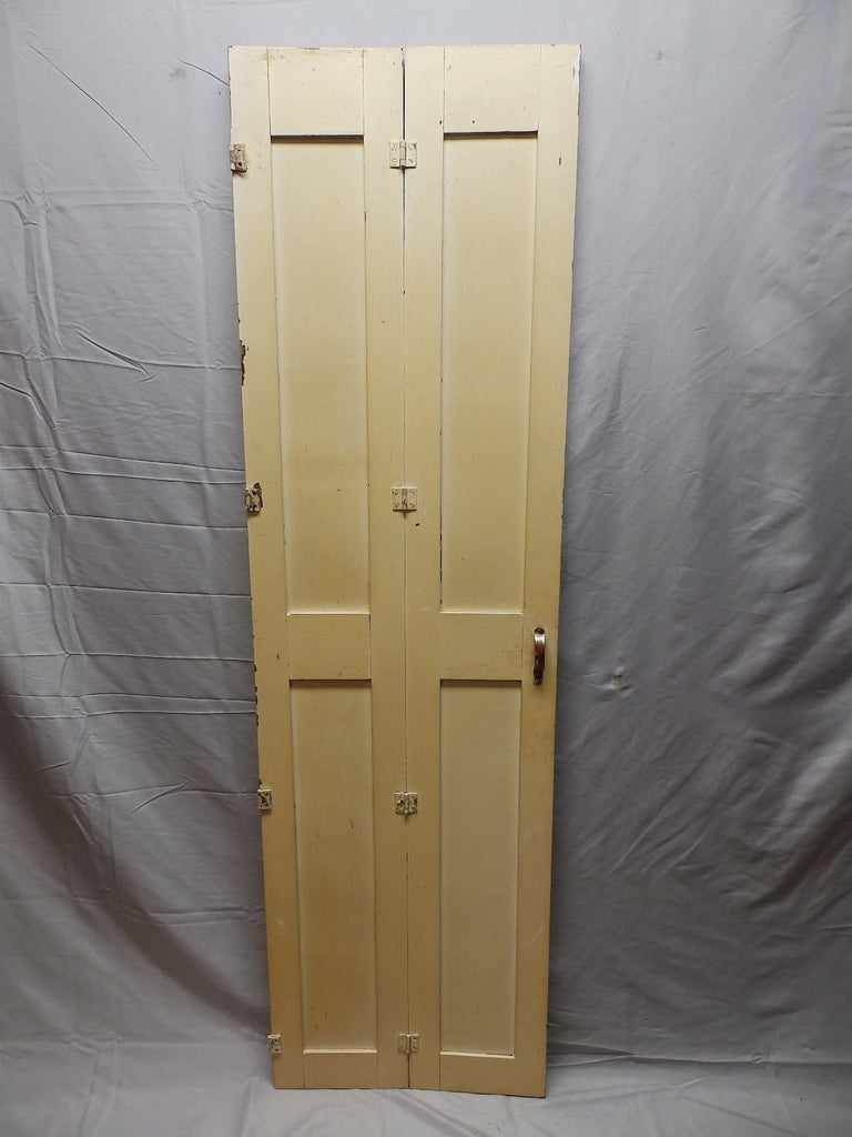 "Antique Bi-fold Wood Paneled Cabinet Doors 62""x18"" Divider Interior Old 98-18P"
