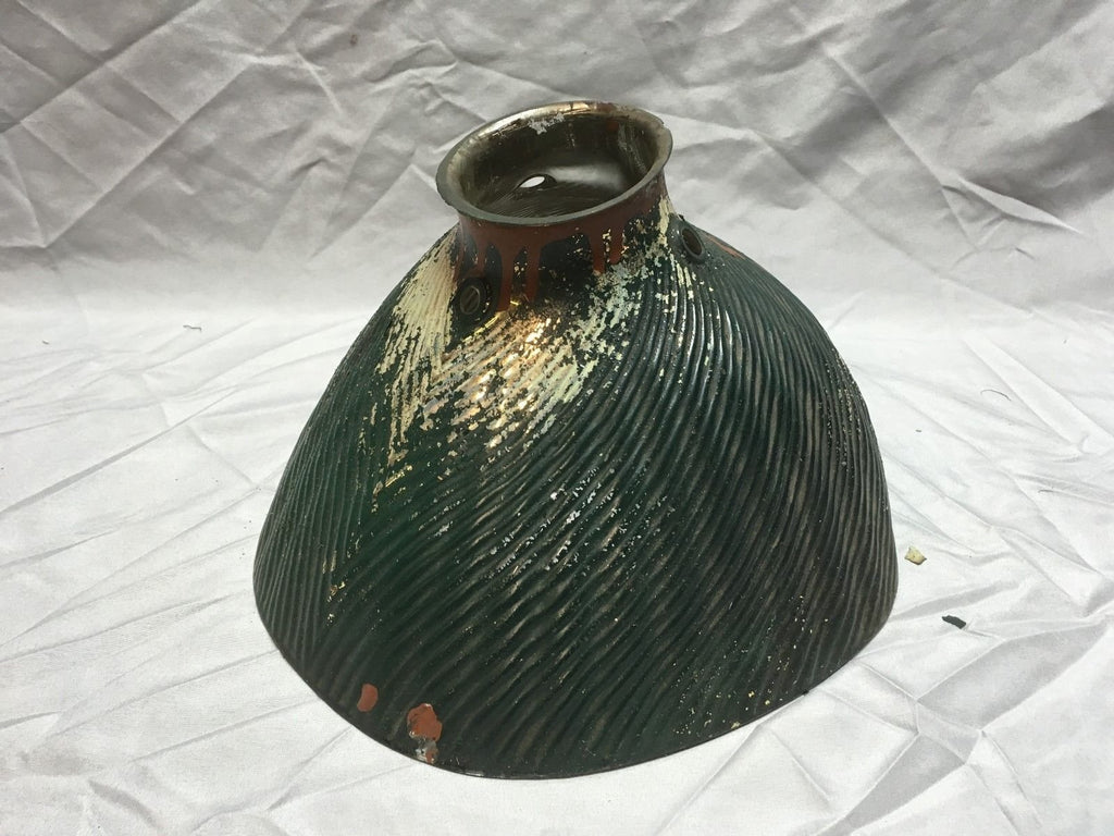 Vtg Industrial Green X-Ray Mirrored Mercury Glass Light Fixture Shade 153-18E