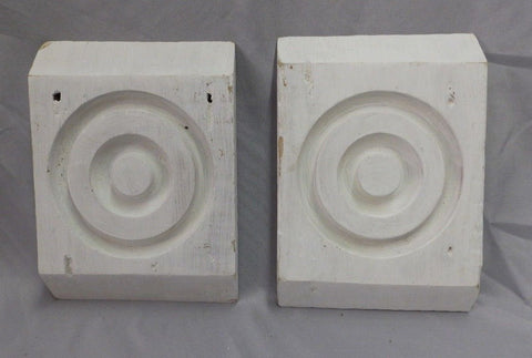 "7"" x 5"" Pair of Antique Architectural White Bullseye Blocks Shabby Vtg 490-18P"