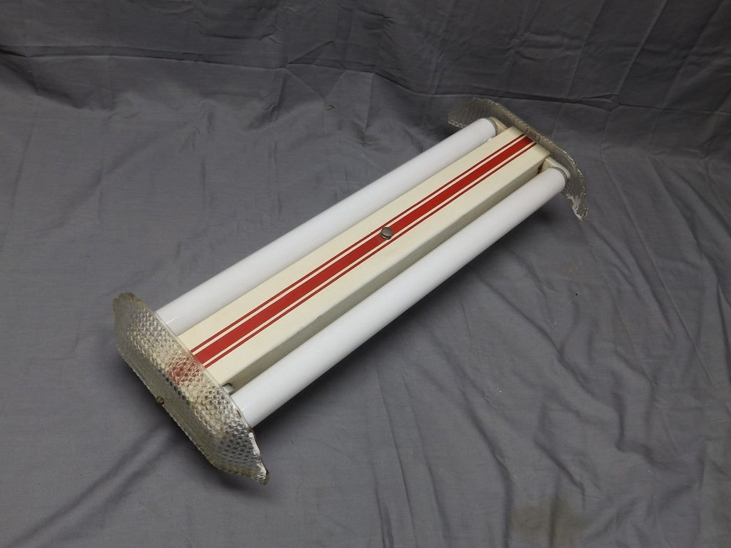 "Vtg Art Deco Mid Century 24"" Fluorescent Light Glass Ends Kitchen Retro 180-17E"