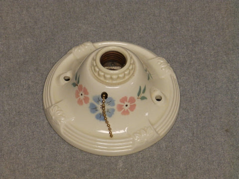 Vtg Flush Mount Porcelain Ceiling Light Shabby Floral Chic Old Sconce 851-16