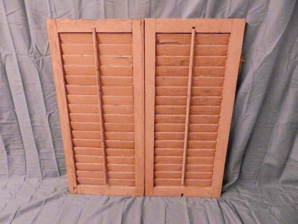 Pair Vtg Small House Window Wood Louvered Shutter Shabby Old Chic 33x16 648-17P