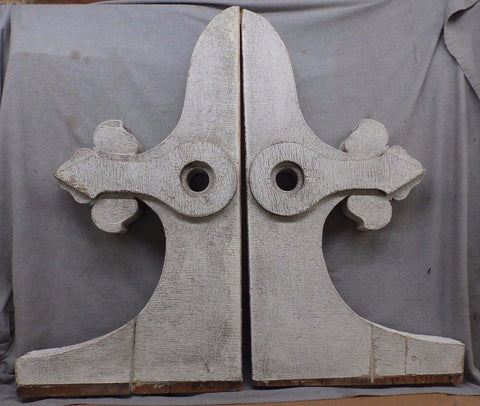 Large Antique Pair Entrance Corbels Gingerbread Fleur De Lis Vintage 565-17R
