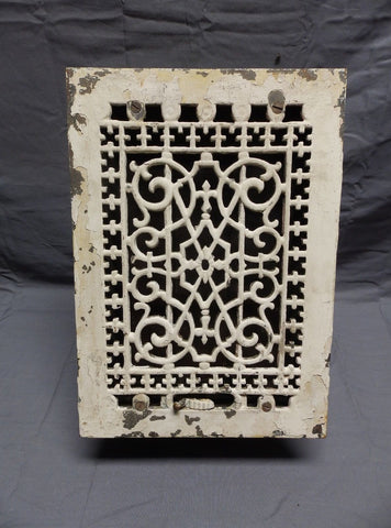 Antique Cast Iron Through the Floor Ceiling Heat Grate Register Vent Vtg 345-18P