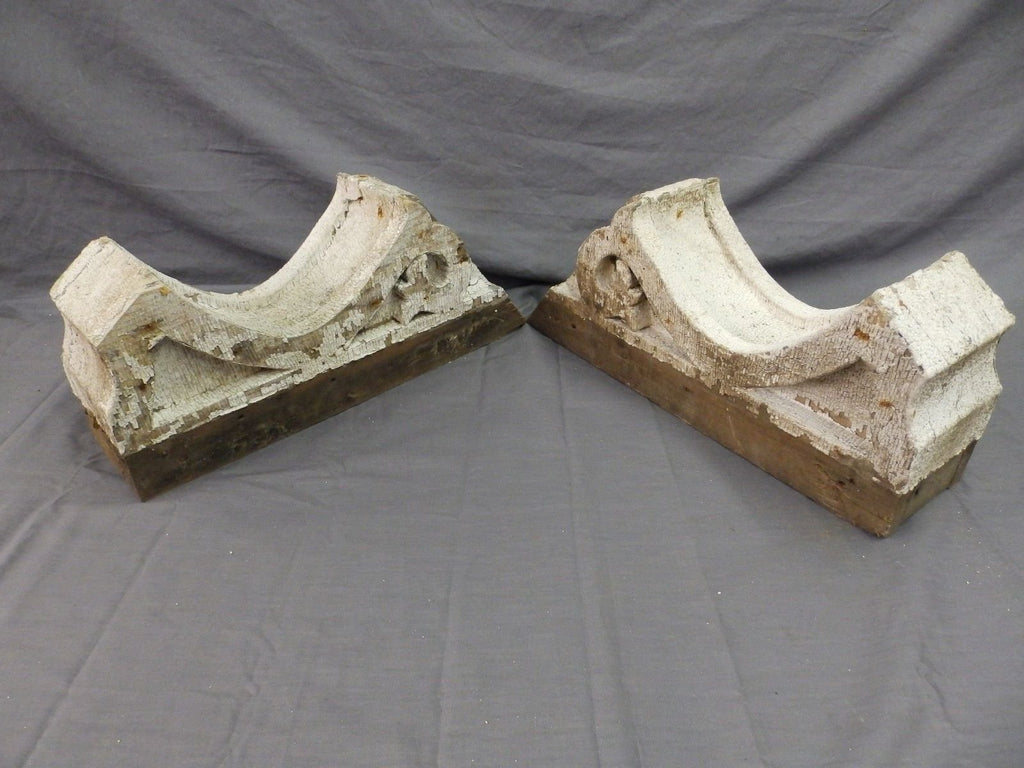 Pr Antique Angled Corbels Roof Bracket Victorian Shabby Cottage Vtg Chic 496-17P