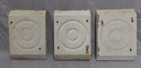 Set of 3 Antique Architectural Salvage Rosette Bullseye Old Molding Vtg 491-18P