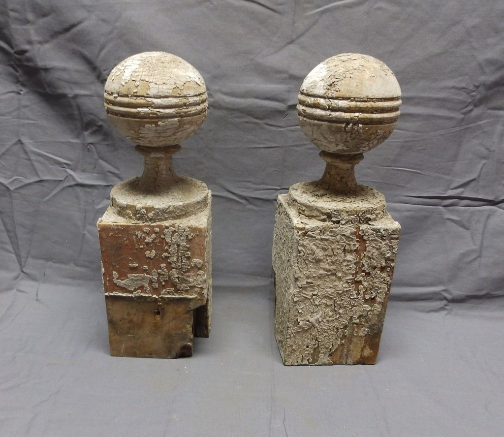 Antique Pair Finials  Post Turned Wood Ball Shabby Cottage Chic Vtg 389-18P