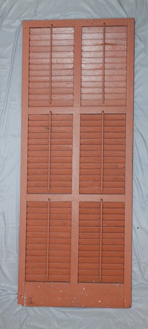Single Large Wide Antique Shutter Door Window Louvered Vtg Shabby 79x31 50-18P