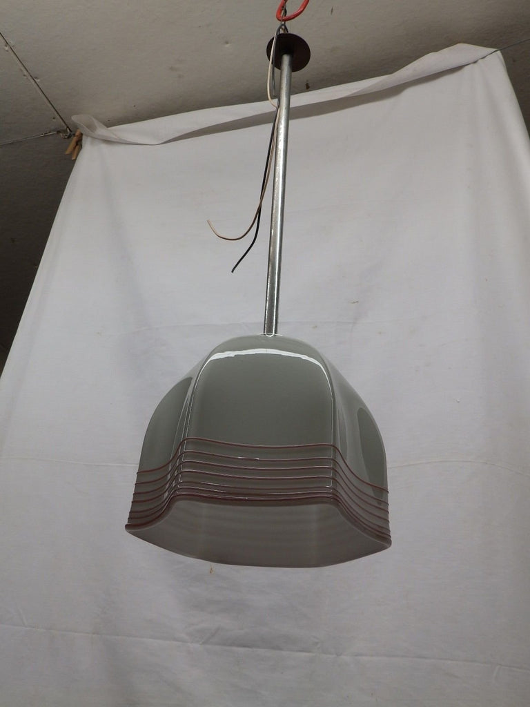 Vintage Mid Century School Pendant Ceiling Light Ribbon Candy Glass 5050-15
